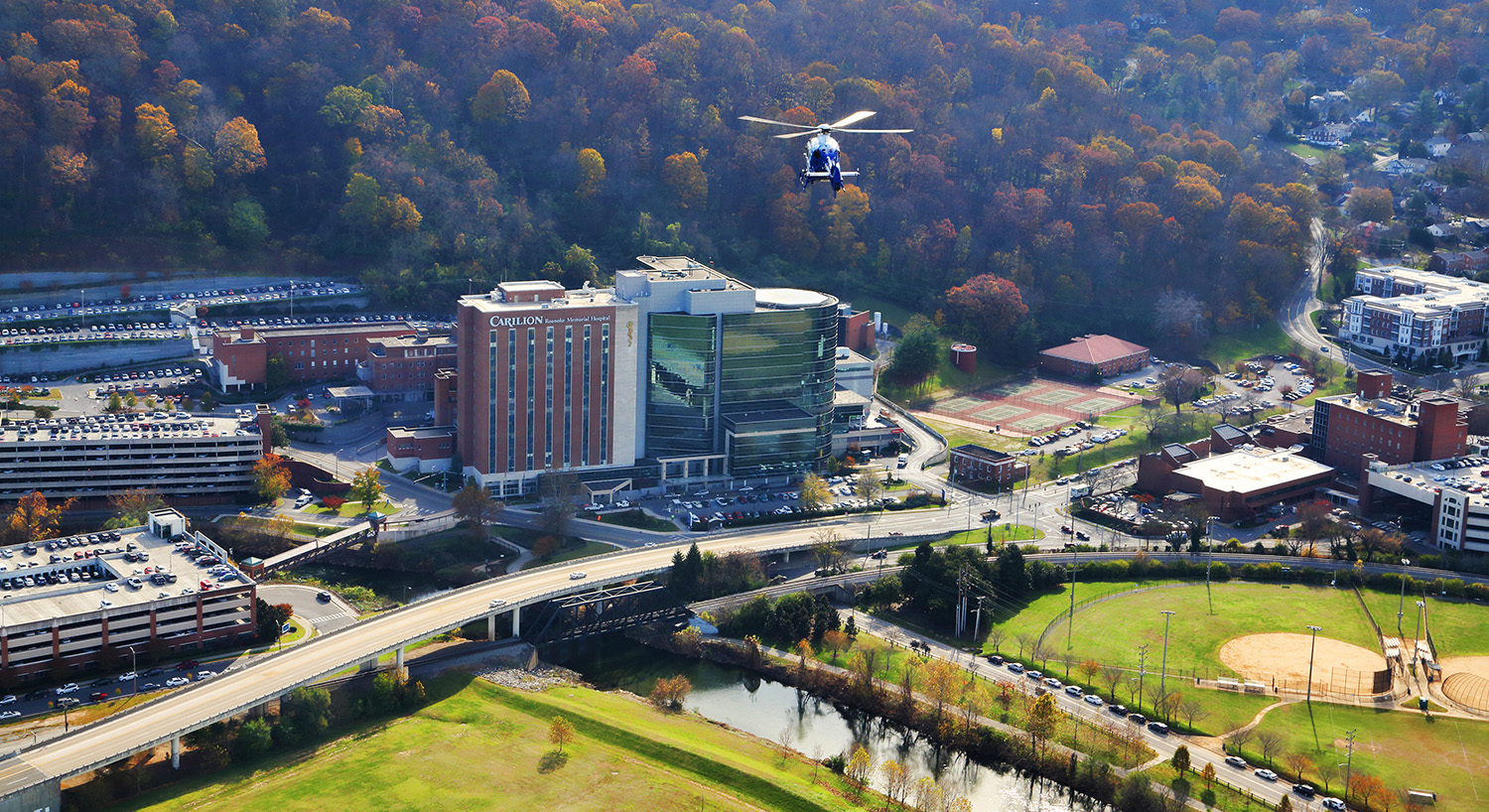 Lifeguard flying above Carilion Roanoke Memorial Hospital